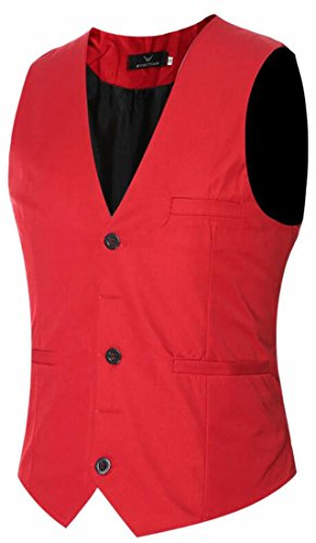 HTOOHTOOH Mens Slim Fit Business Classic Stylish Button Down Suit Vest Red XL