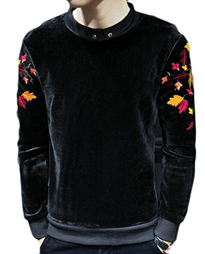 ZXFHZS Mens Classic Casual Loose Velvet Round Neck Long Sleeve Print Pullover Sweatshirt Black M