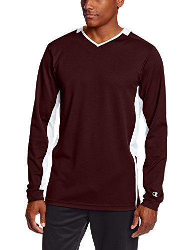 Champion Men's Double Dry Long Sleeve Warm-Up Jacket,Maroon/White, Large