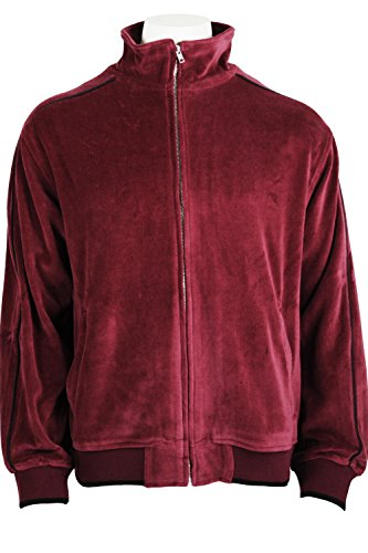 Mens Velour Track Jacket Burgundy with Black Piping(Large)