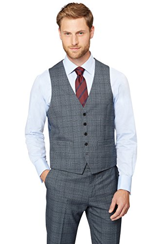 Moss Esq. Men's Regular Fit Vintage Check Suit Vest 44R Blue