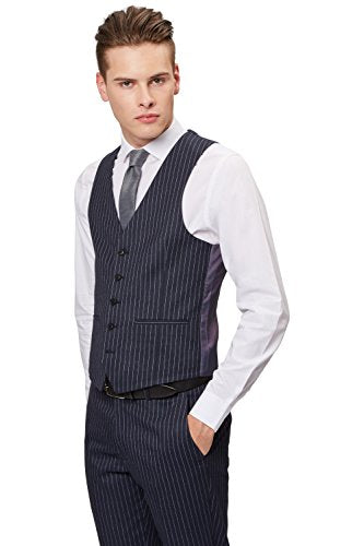 Moss London Men's Skinny Fit Navy Pinstripe Suit Vest 36R Blue
