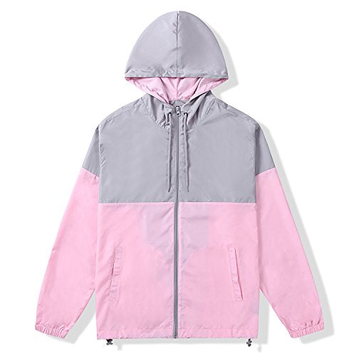 Beautiful Giant Men's Contrast Zip-Up Hooded Windbreaker Jacket(L,PINK/GREY)