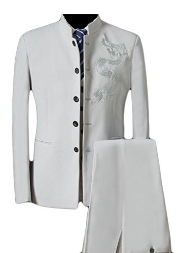 GAGA Men's Basic Embroidery Print Single-Breasted Suit Blazers + Suit Pant Set Creamy-White S