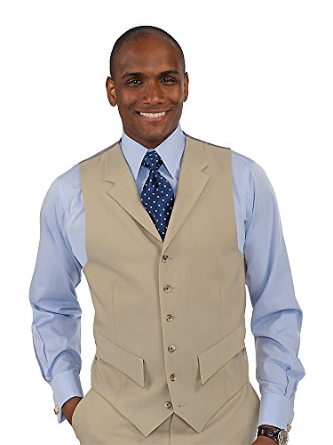 Paul Fredrick Men's 100% Wool Six-Button Notch Lapel Suit Separate Vest Tan 46