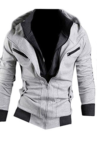 UUYUK Mens Autumn Contrast Double Zipper Hoodie Sweatshirts Outwear light Grey US L