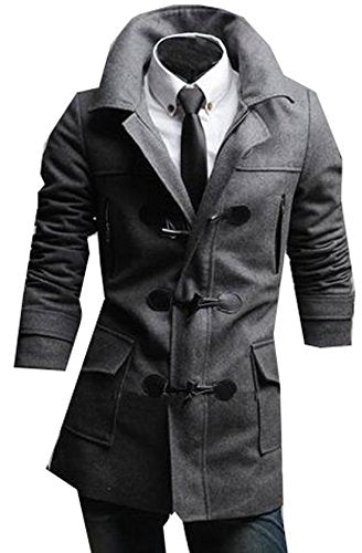 Unko Men's Fashion Horn Button Trench Coat Hoodies Jacket Grey XS