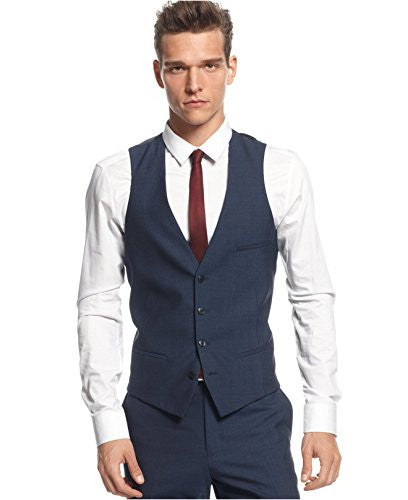 Bar III Mens Slim Fit Four-Button Suit Vest Blue 40S