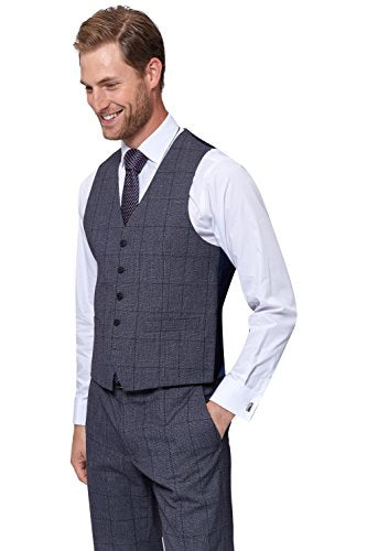 Moss Esq. Men's Regular Fit Pale Blue Prince Of Wales Check Suit Vest 42R