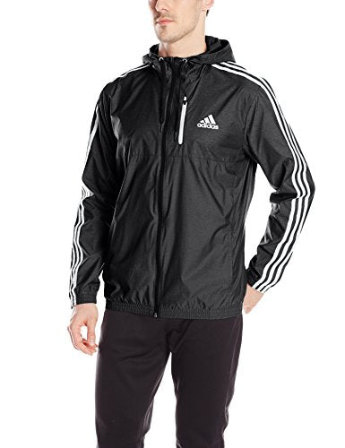 adidas Men's Athletics Essential Woven Jacket, Black/Black/White, Medium