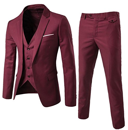 NQ Men¡¯s One Button 3-piece Suit Notch-lapel Slim Fit Blazer Tux Wine Red XL