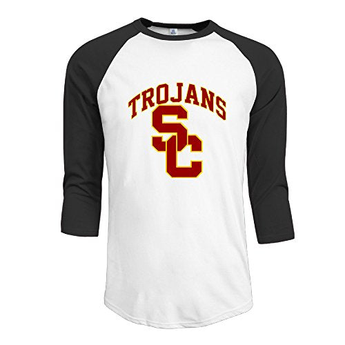 Men's USC Trojans 100% Cotton 3/4 Sleeve Athletic Baseball Raglan T-Shirt Black US Size M