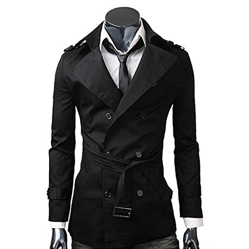 MNBS Men's Lightweight Casual Double Breasted Trench Coat Slim Fit Large Black