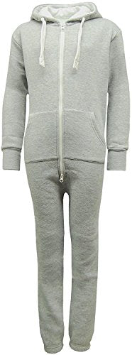 Noroze Mens Hoodie Jumpsuit Onesie One Piece Pajamas (Large, Plain Grey)