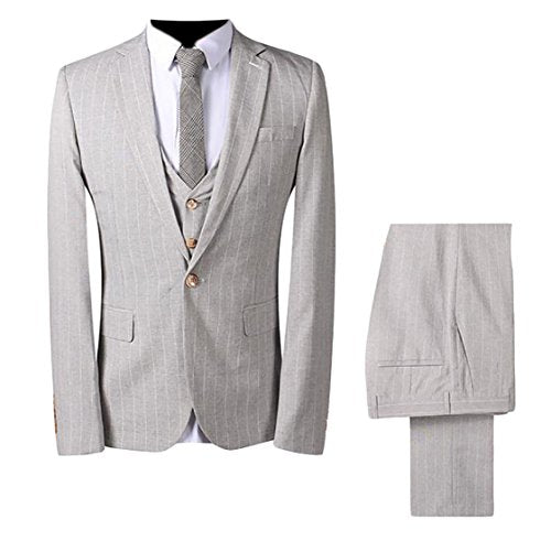 ouxiuli Mens Classic 3 Piece Pinstripe One Button Slim Fit Dress Jacket Vest Pants Set Light Grey XS