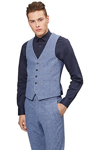 Moss London Men's Skinny Fit Ice Blue Donegal Suit Vest 48R