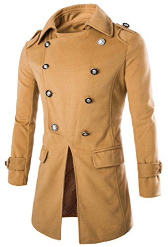 Generic Mens Fashion Punk Trench Coat Jacket Overcoat Outwear Camel L