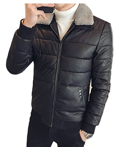 Beloved Men's Basic Motorcycle Wind-Resistant Lining Down Jacket Black S