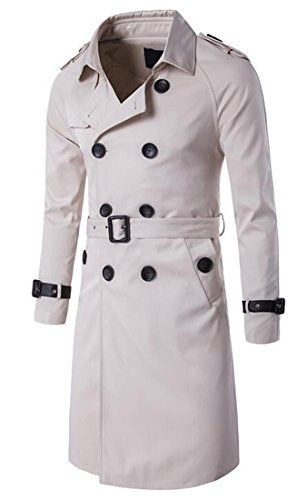 XQS Mens Classic Double Breasted Slim Fit Belted Trench Coat White XL