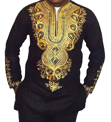 LD Mens Vintage V-Neck Long Sleeve African Print Dashiki Shirt Blouse Tops Black S