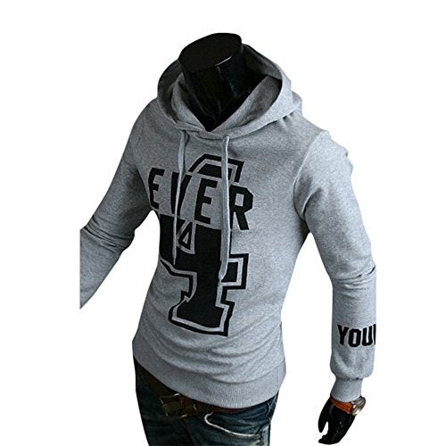 Wenyujh Mens Hooded Pullover Cotton Letters Print Long Sleeve Sweater Tops