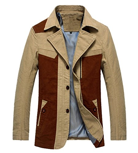 Men's Patch Work Contrast Pieced Lapel Button Short Trench Coat Jacket