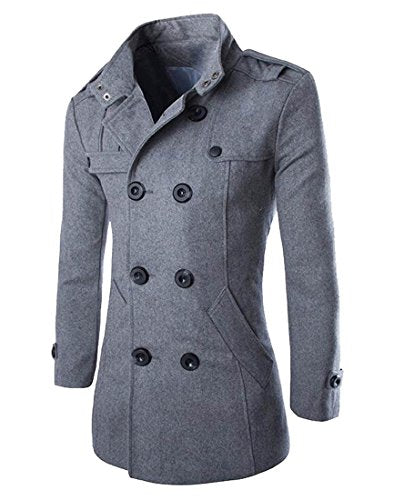 Unko Mens Double Breasted Wool Blend Stand Collar Trench Coat Grey S