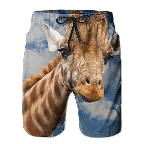 Men's Giraffe-animal-funny-facial-expression Summer Short Beaches Quick Dry Swim Casual Board Shorts