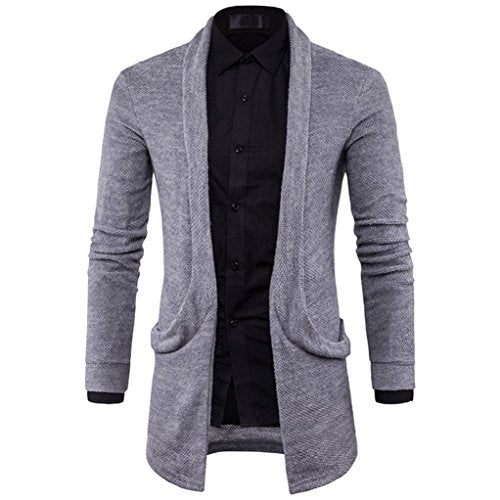 Knitting Cardigan Sweater,Hongxin Men'S Fashion Business Style Solid Long Trench Coat Slim Jacket (M, Gray)