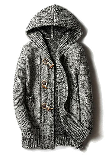 WSPLYSPJY Men Warm Plus Size Hooded Open Front Knit Sweater Cardigans Grey M