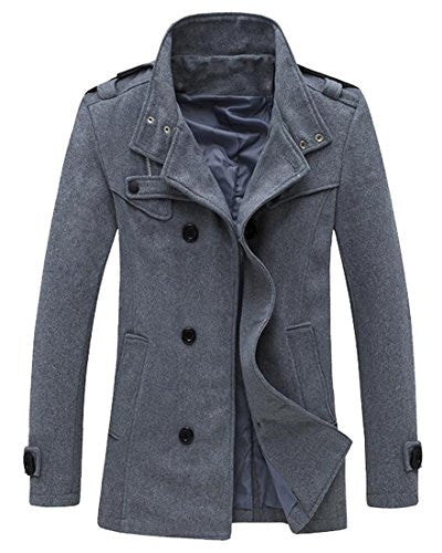 XQS Men's Winter Trench Coat Double Breasted Slim Wool Pea Coat Grey XS