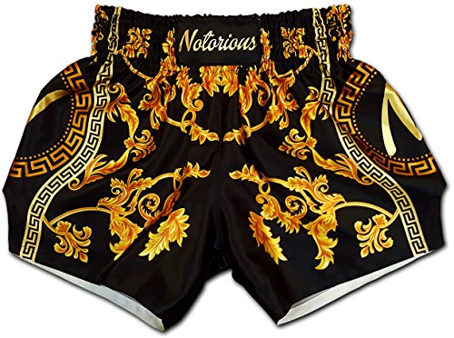 NOTORIOUS Muay Thai Boxing Shorts Trunks Retro Vintage Baroque Deluxe เวอซาเช่ Premium Satin Quality Black Gold Men Women Unisex (2XL)