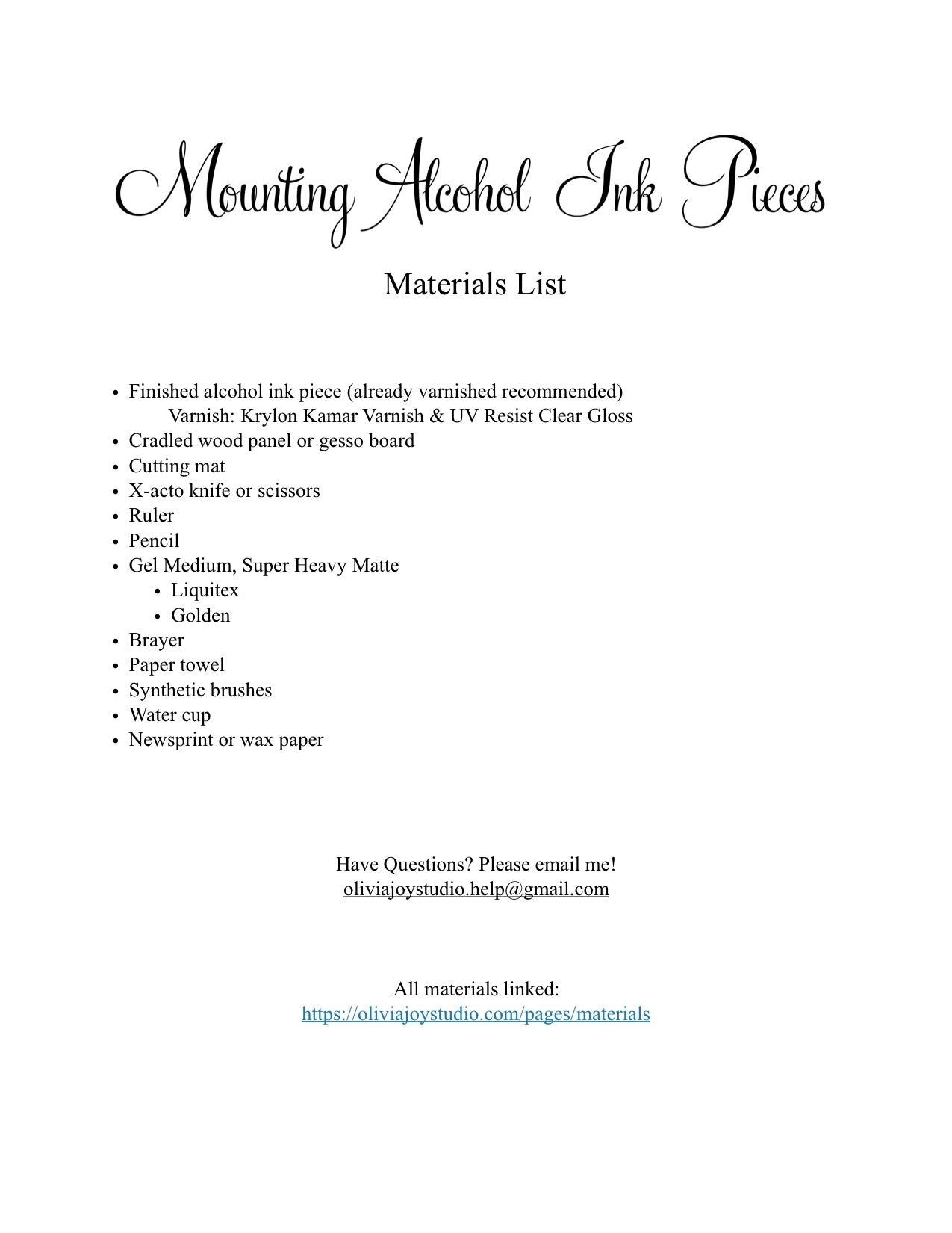 Mounting Materials List: Olivia Joy Studio