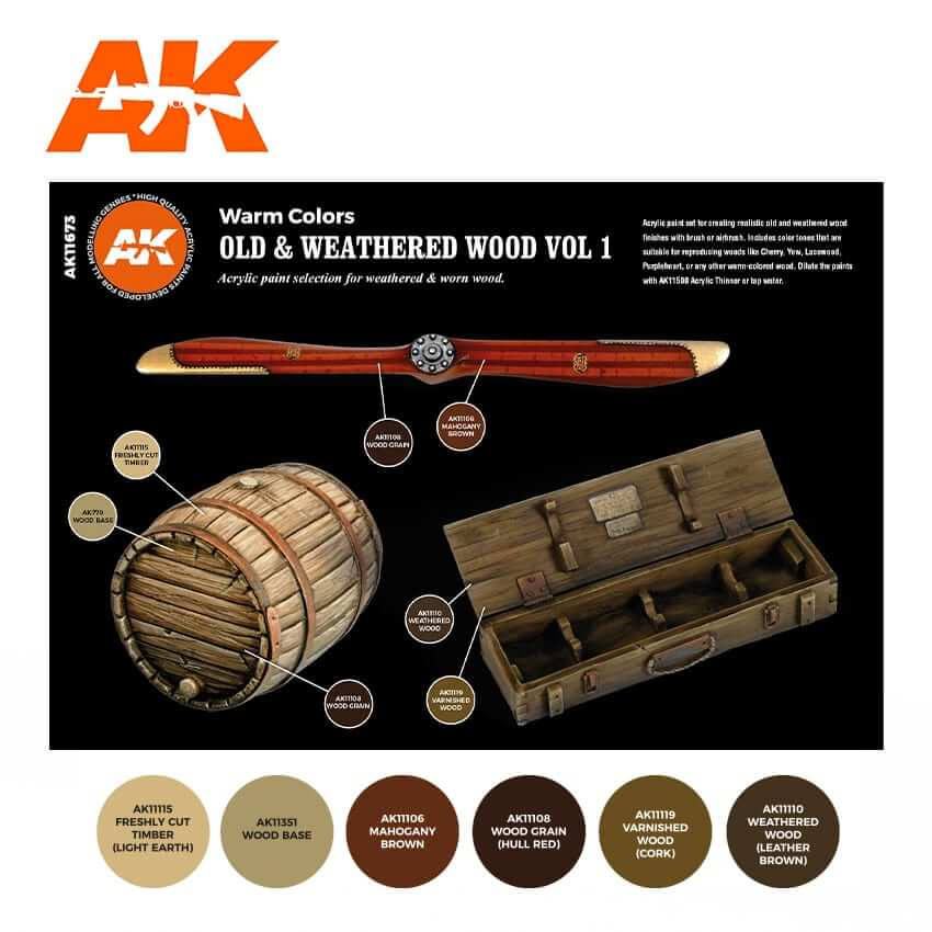 AK Interactive Paints Sets - Old & Weathered Wood Vol. 1