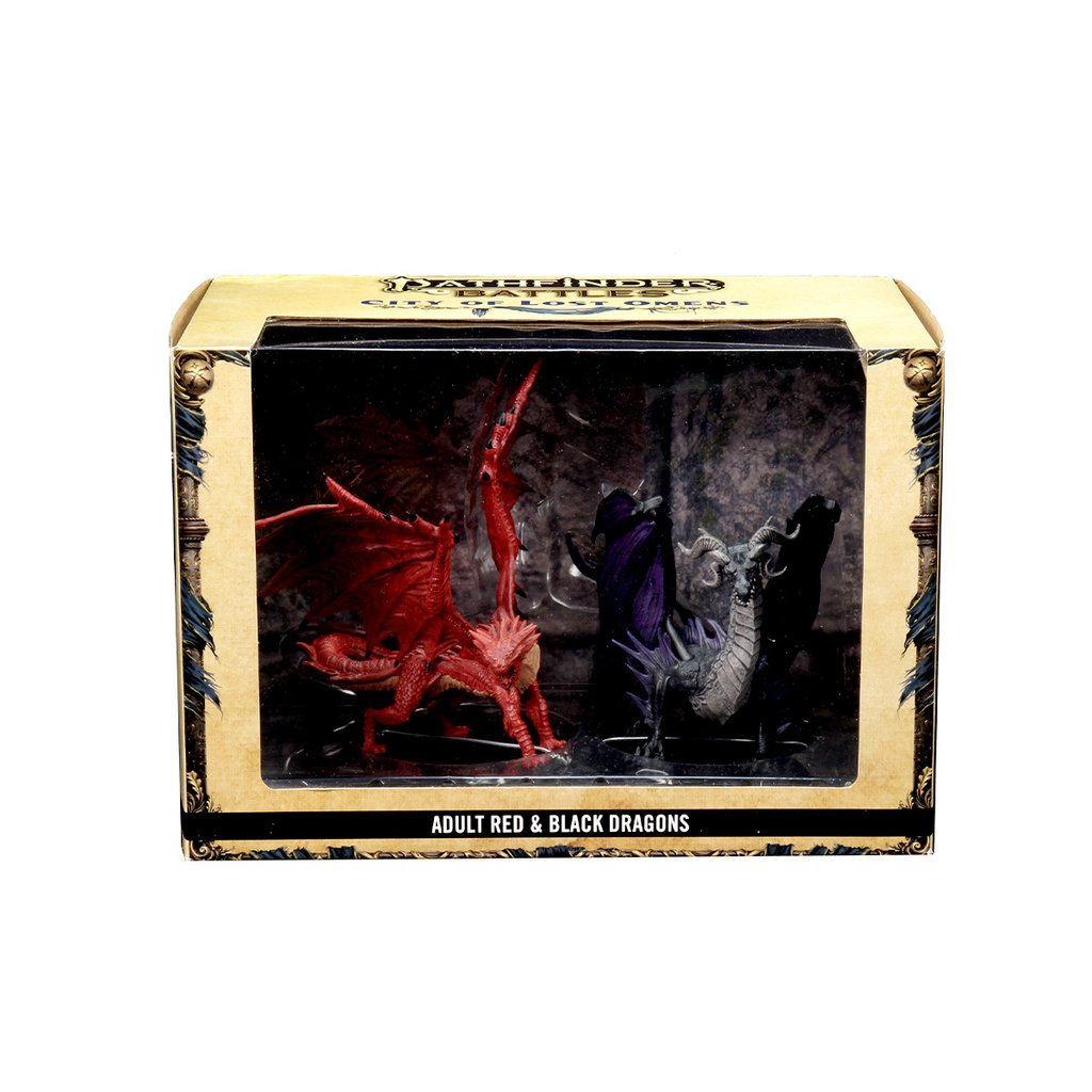Pathfinder Battles: City of Lost Omens Premium Figure - Adult Red & Black Dragons