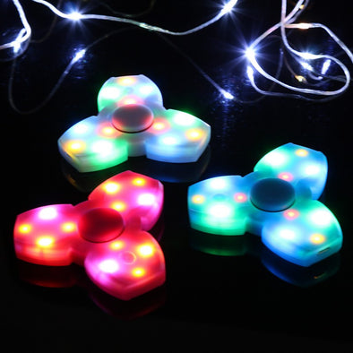 Multi-color LED Triangle Gyro Fidget Spinner With Built In Speakers