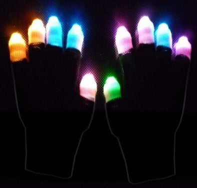 Pair of Black LED Raver Gloves