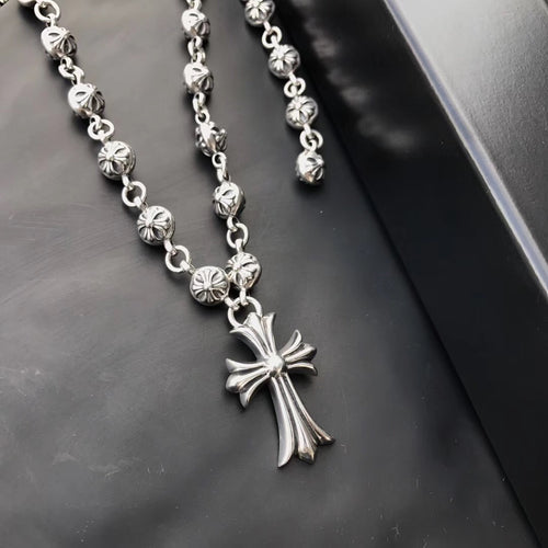 CH ball cross necklace
