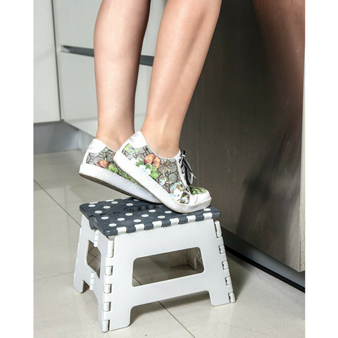 Orgalif Heavy Duty Folding Step Stool with Anti Slip Dots (White-Gray)