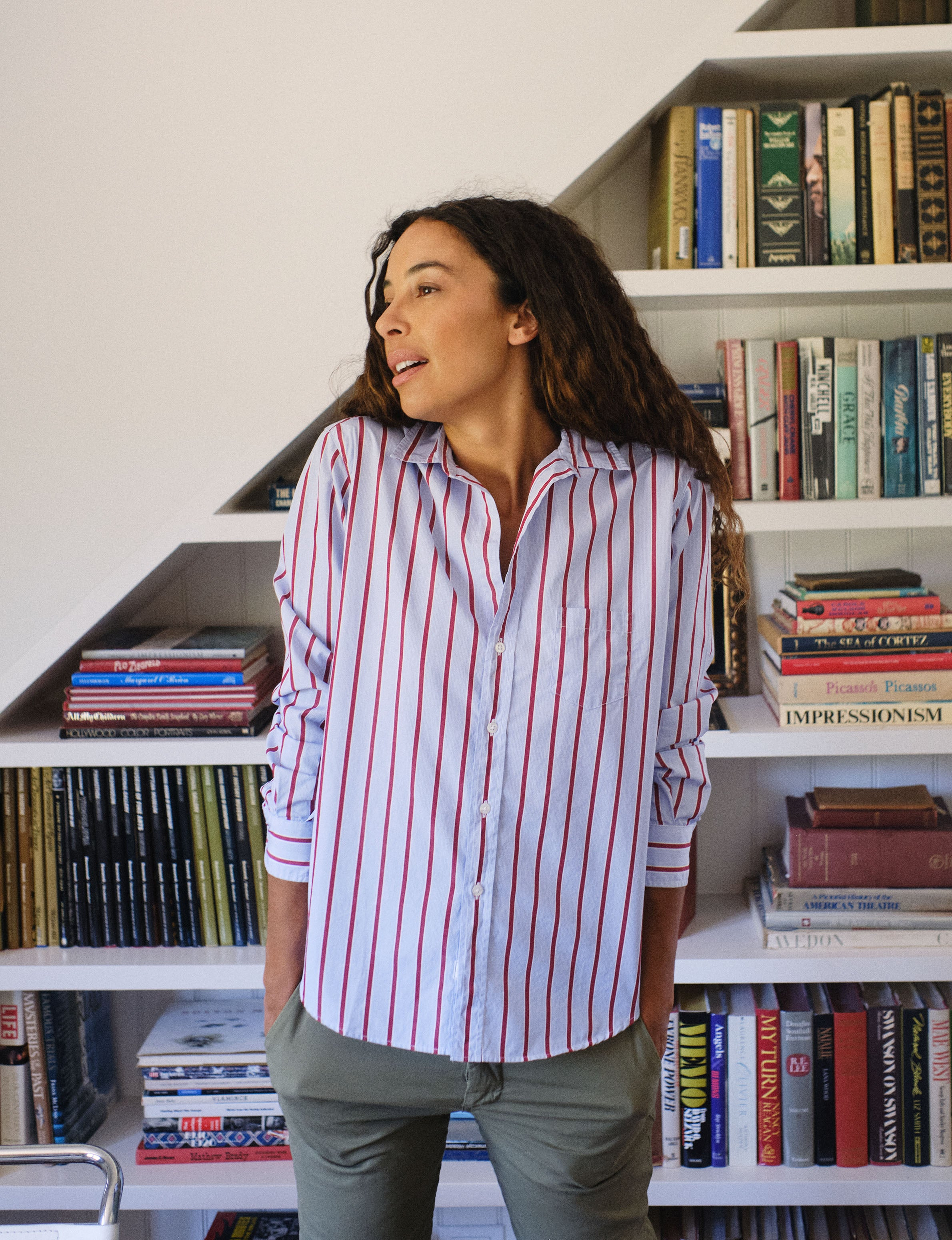 Image of EILEEN Red with Thick Blue Stripe, Classic Poplin