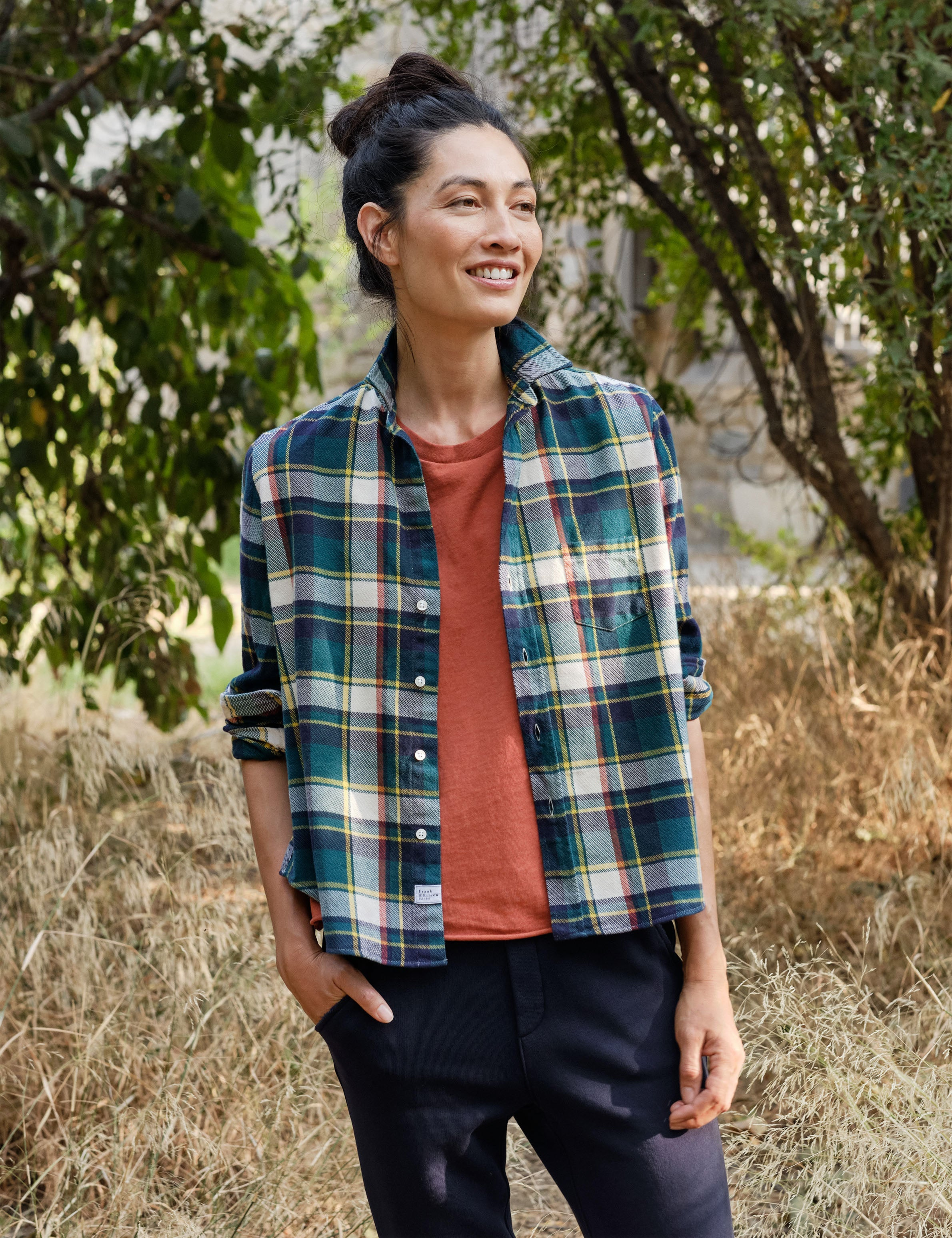 Image of EILEEN Heavy Green & Navy Plaid, Polar Flannel
