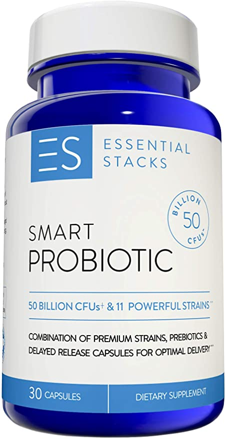 Essential Stacks 50 Billion Probiotic Supplement - with 11 Premium Strains, 250mg Prebiotics & Delayed Release Capsule Technology for Optimal Delivery. Refrigeration Optional