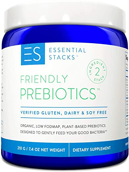 Essential Stacks Friendly Prebiotics Powder - Organic Prebiotic Fiber to Support Gut Bacteria, Digestive Health & Weight Management. Non-GMO, Plant-Based and Gluten, Dairy & Soy Free - Unflavored