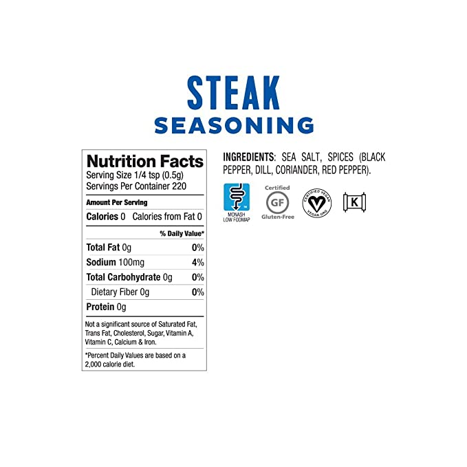 Low FODMAP Steak Seasoning Onion, Garlic & Gluten Free