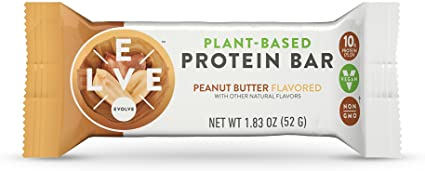 Evolve Plant-Based Protein Bars, Peanut Butter, 10g Protein, 1.83Oz 12 Count