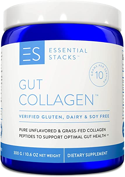 Essential Stacks Collagen Hydrolysate Powder - Grass-Fed Collagen Peptides Protein Supplement for Gut Support Plus Hair, Skin & Nails. 3rd Party Verified Gluten, Dairy & Soy Free - Unflavored