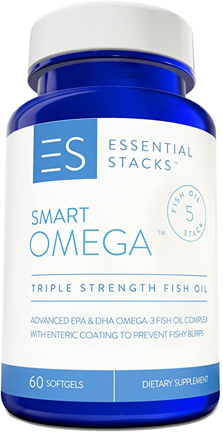 Essential Stacks Burpless Fish Oil Omega 3 - Triple Strength (1400mg EPA DHA Per Serving), Enteric Coated, Molecularly Distilled & No Fishy Burps OR Aftertaste.