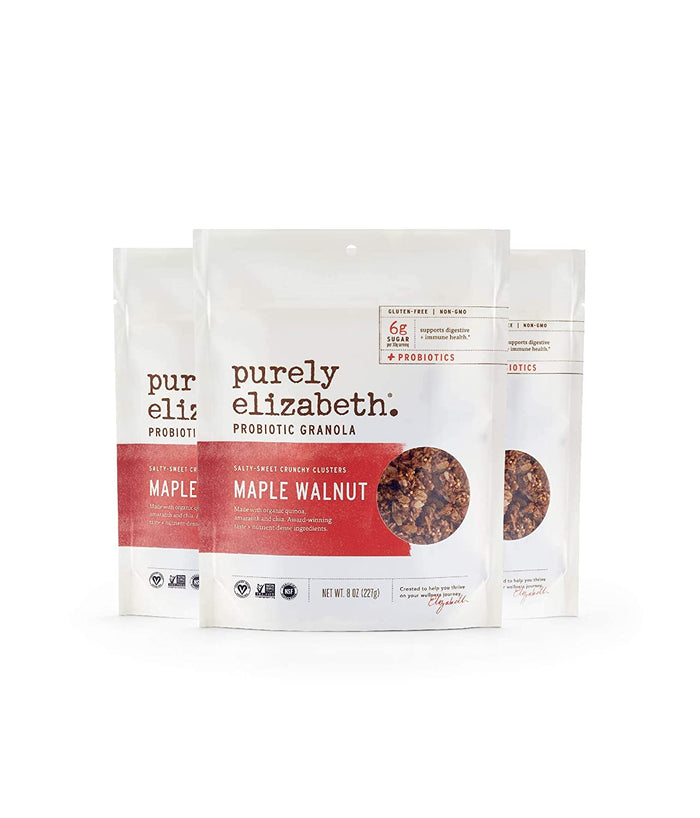 Purely Elizabeth Probiotic Granola, Certified Gluten-Free and Vegan, Nutrient-Packed - Maple Walnut - 8oz, 3 pack