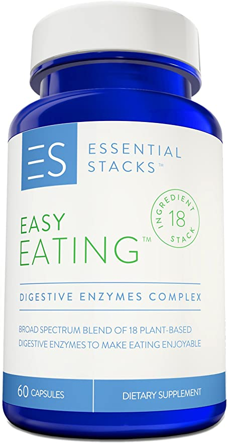 Essential Stacks 18 Digestive Enzymes in 1 - Gluten Free, Plant Based & Broad Spectrum - Smartly Formulated So You Can Digest All Food Groups.