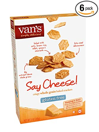 Van's Simply Delicious Gluten-Free Crackers, Say Cheese!, 5 oz. (Pack of 6)